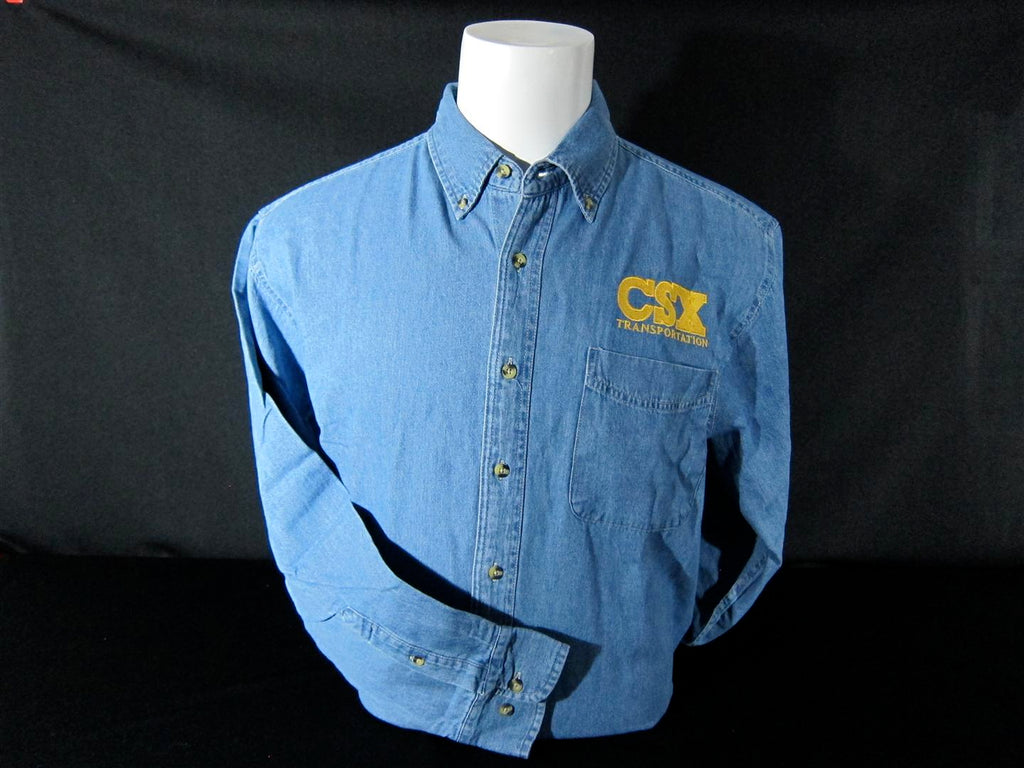 CSX Logo Embroidered Denim Shirt