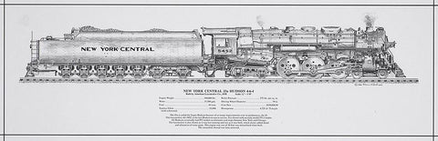 New York Central J3a Hudson Engine Rolled Print