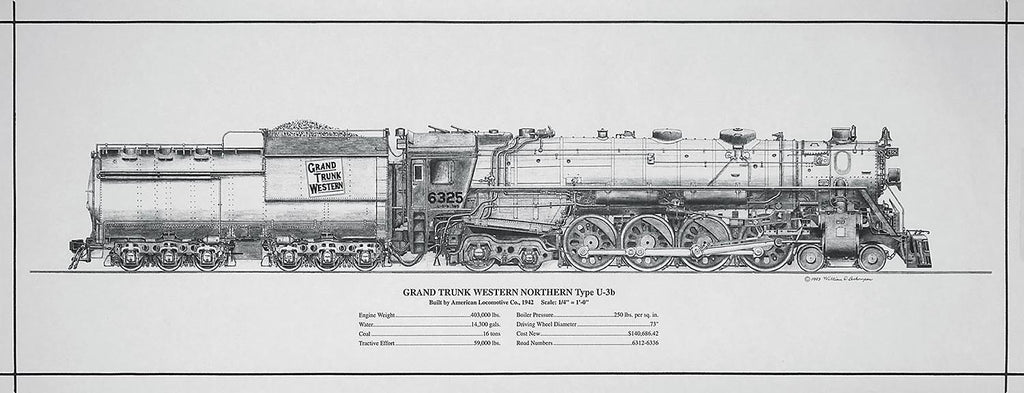 Grand Trunk Western Northern #6325 Engine Rolled Print
