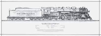 New York Central J3a Hudson 4-6-4 Engine Rolled Print