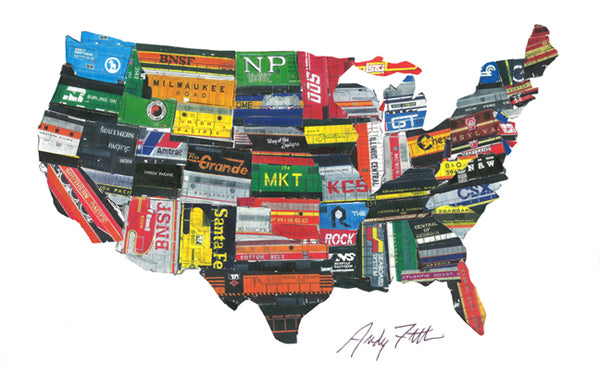 US Map of Train Logos Poster