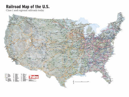 Railroad Map of the US Poster