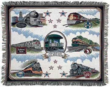 American Locomotive Multi-Colored Afghan