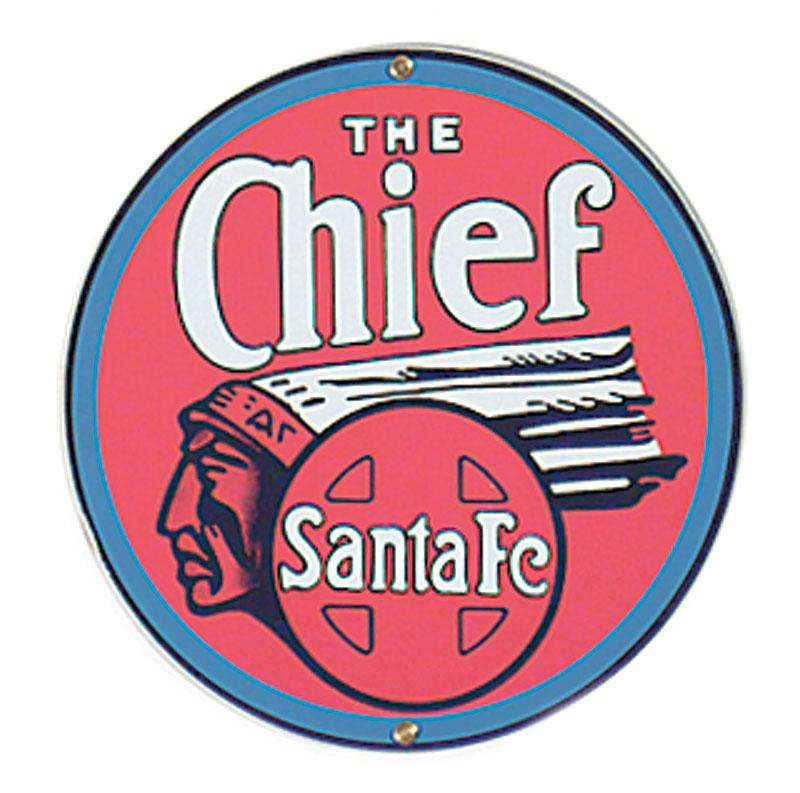 The Santa Fe Chief Porcelain Sign