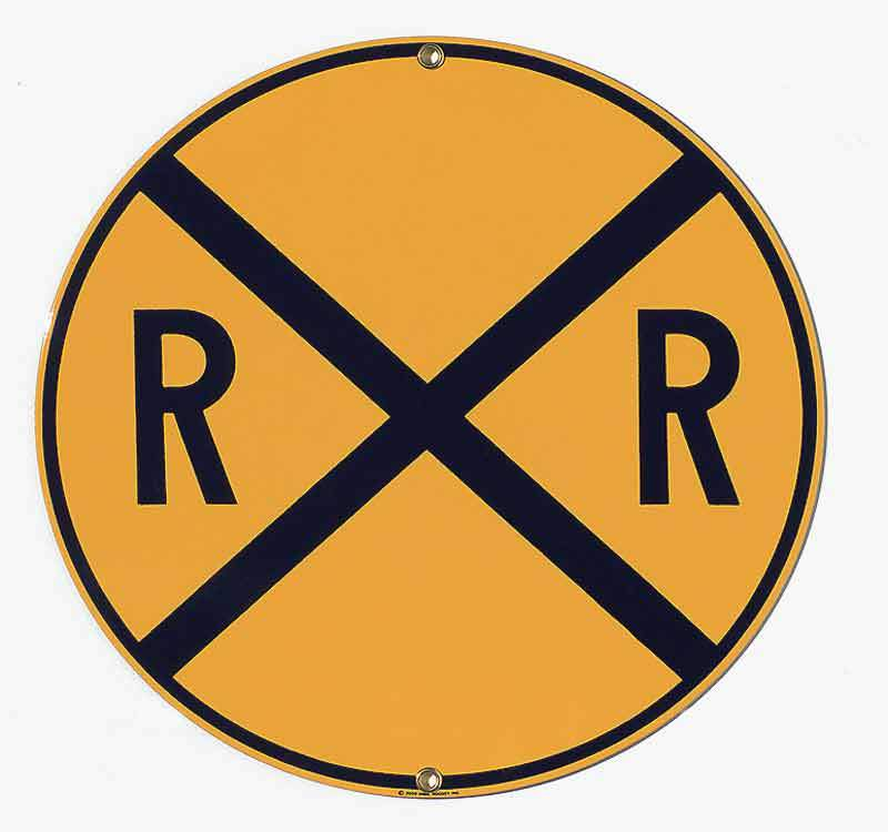 Yellow Railroad Crossing Porcelain Sign