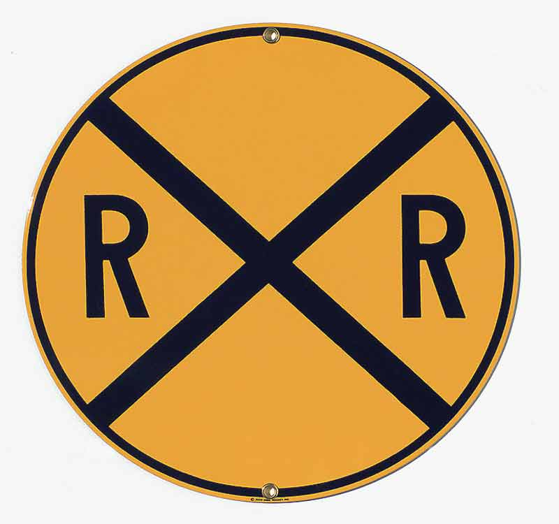 Round 14 Inch RR Crossing Sign