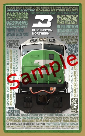 Burlington Northern Wooden Heritage Sign
