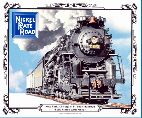 Nickel Plate No. 765 Steam Locomotive Tin Sign