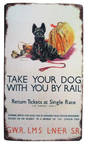 Dog By Rail Sign