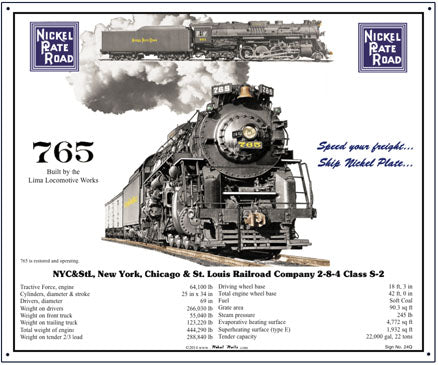 Nickel Plate Specs Tin Railroad Sign