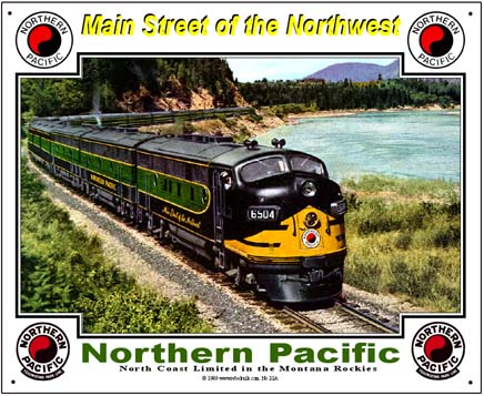 Northern Pacific Scenic Tin Railroad Sign