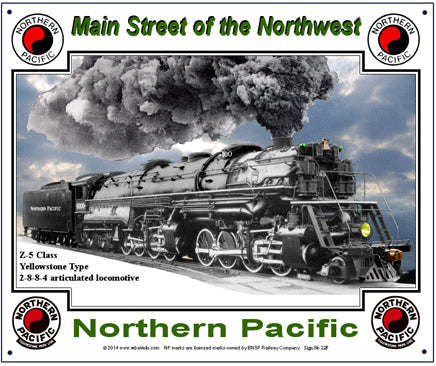 Northern Pacific Steam Tin Railroad Sign