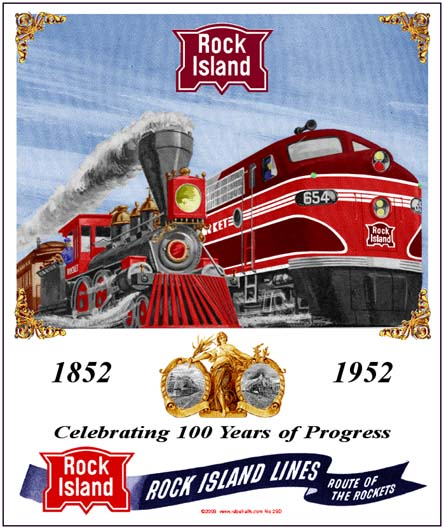 Rock Island 100th Tin Railroad Sign