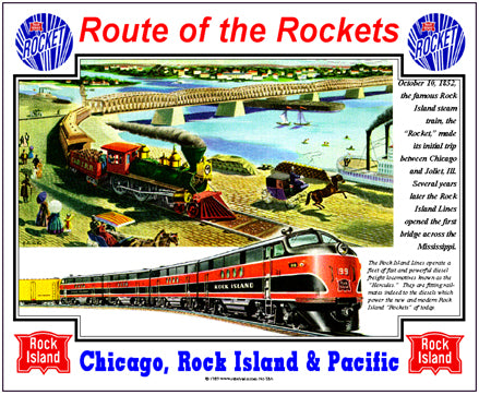 Rock Island Tin Railroad Sign