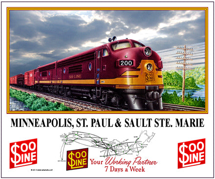 SOO Line Tin Railroad Sign