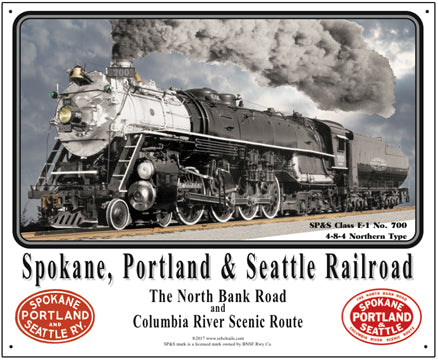 Spokane, Portland, and Seattle Tin Railroad Sign
