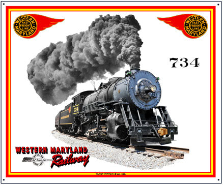 Western Maryland Tin Railroad Sign