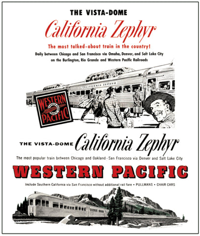 Western Pacific California Zephyr Tin Railroad Sign