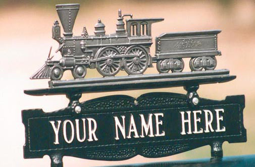 Personalized Locomotive Post Sign - American 4-4-0 - One Line Sign