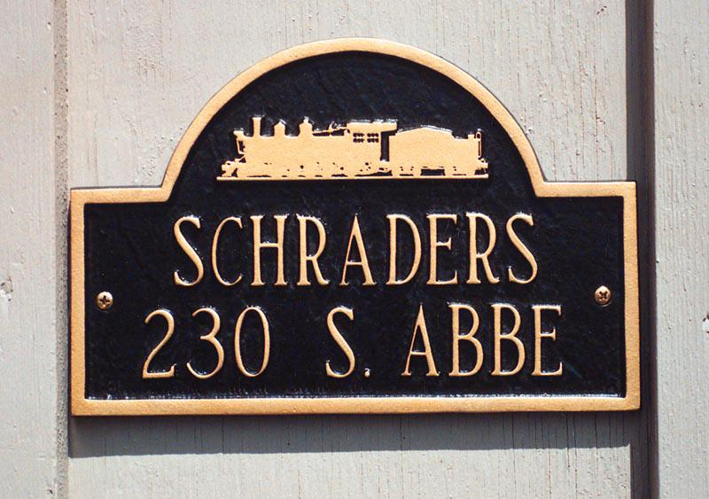 Locomotive Silhouette House Marker- Two Line-Personalized
