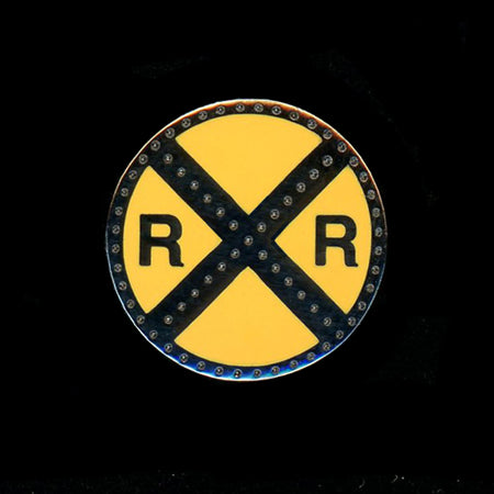 Railroad Crossing Sign Pin