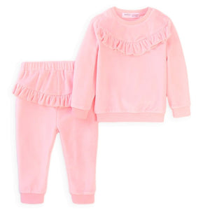 Ruffled Velour Lounge Set Pink