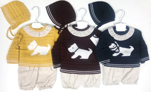 Knitted Scottie dog 3 piece set Burgundy - Roo's Online Shop - children's clothes - Mary Jane shoes -