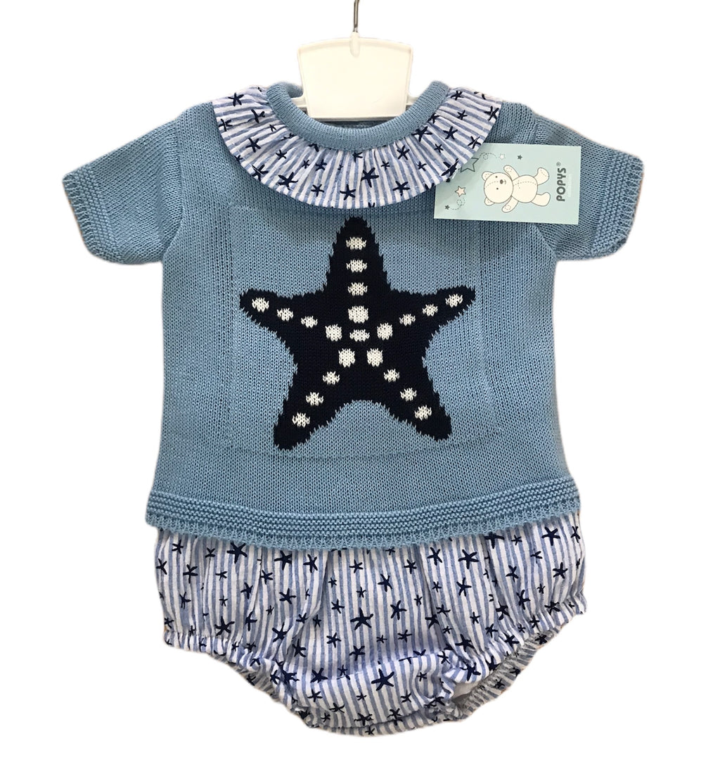 Knit and cotton mix blue jam pants set - Roo's Online Shop - children's clothes - Mary Jane shoes -