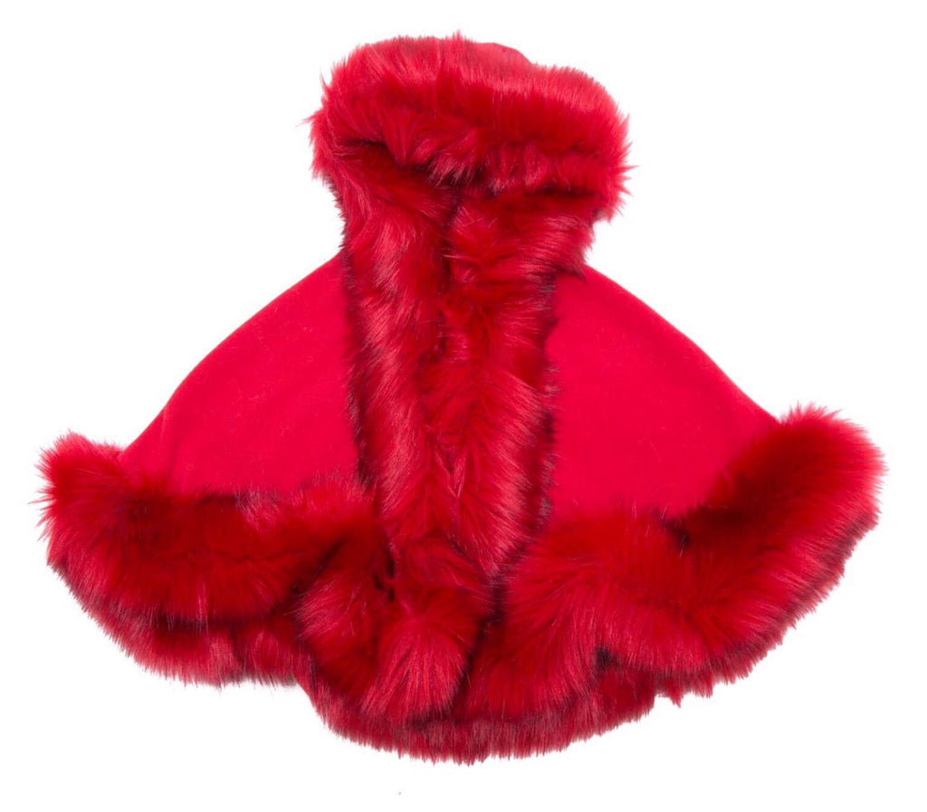 Luxury faux fur cape in RED - Roo's Online Shop - children's clothes - Mary Jane shoes -