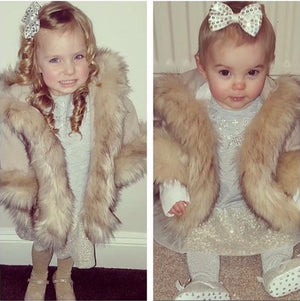 Luxury faux fur cape in BEIGE - Roo's Online Shop - children's clothes - Mary Jane shoes -