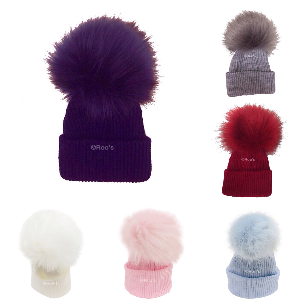 luxury faux fur Pom Pom hat - Roo's Online Shop - children's clothes - Mary Jane shoes -
