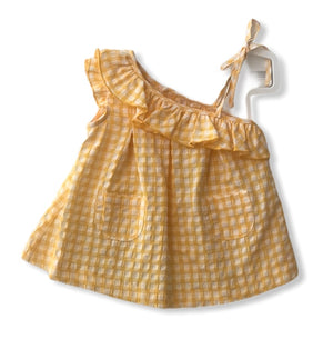 Gingham check Spanish Summer dress yellow - Roo's Online Shop - children's clothes - Mary Jane shoes -