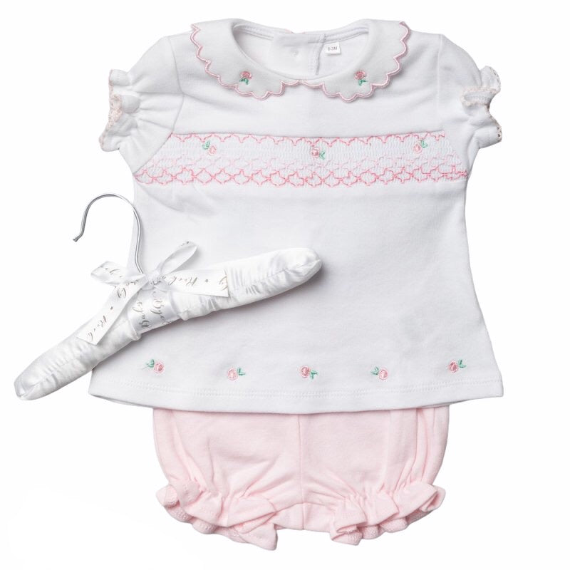 Smocked Girls 2 Piece set Pink Rosebuds