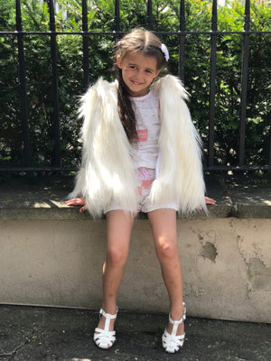 Luxury funky  fur hooded cape - Roo's Online Shop - children's clothes - Mary Jane shoes -