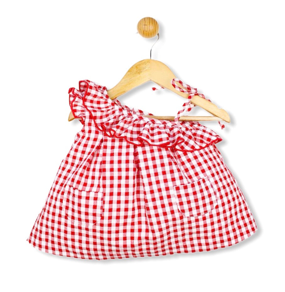 Gingham check Spanish Summer dress Red - Roo's Online Shop - children's clothes - Mary Jane shoes -