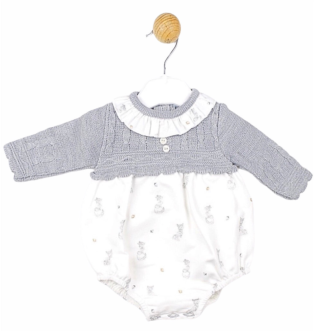 Knit and cotton mix baby romper and hat grey - Roo's Online Shop - children's clothes - Mary Jane shoes -