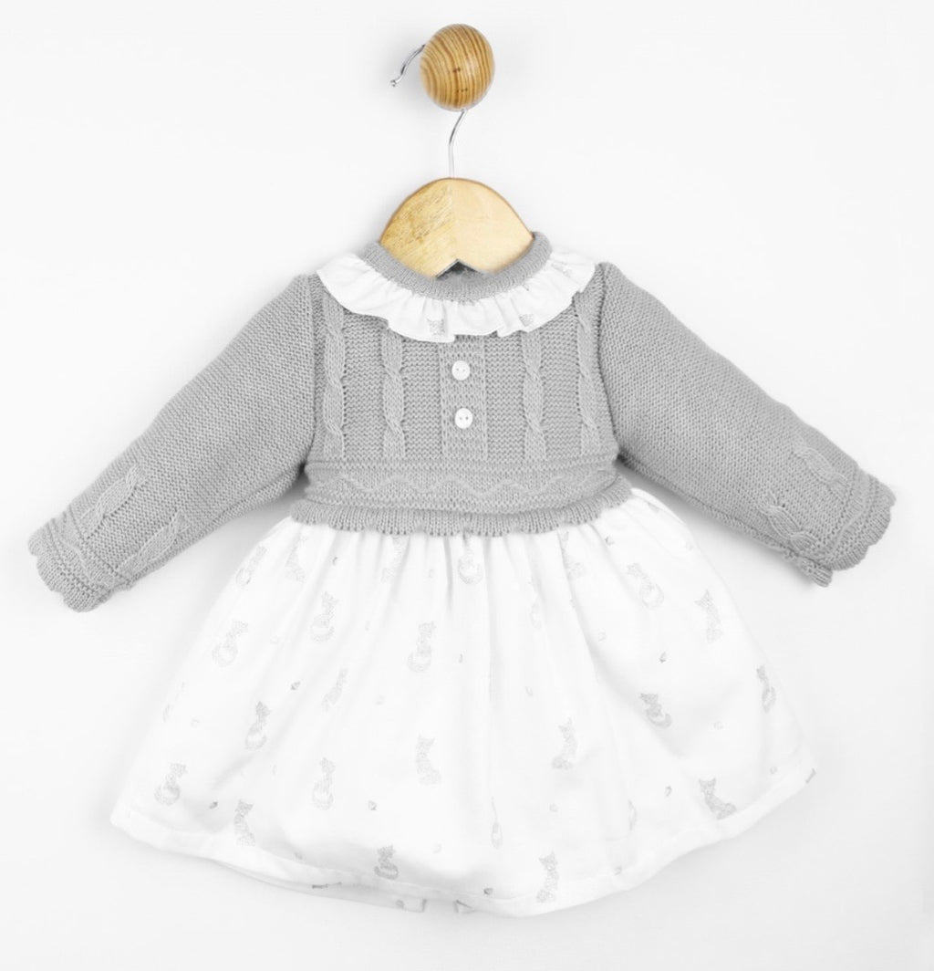 Knit and cotton mix baby dress and bonnet grey - Roo's Online Shop - children's clothes - Mary Jane shoes -