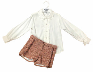 Rochy orange tweed winter shorts set - Roo's Online Shop - children's clothes - Mary Jane shoes -