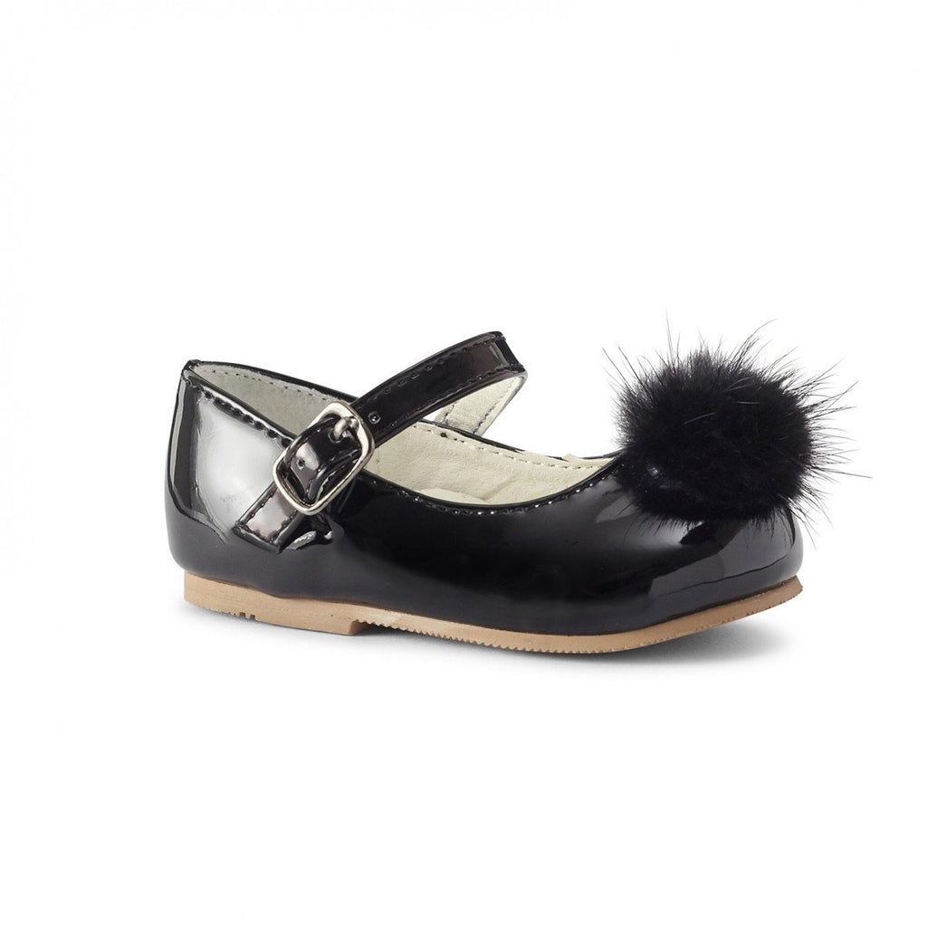Infant Pom Pom Mary Jane Shoes in Black - Roo's Online Shop - children's clothes - Mary Jane shoes -