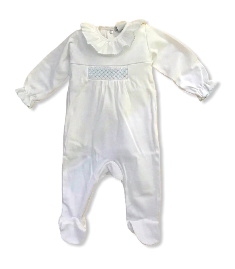 Smocked frilly baby grow white and blue - Roo's Online Shop - children's clothes - Mary Jane shoes -