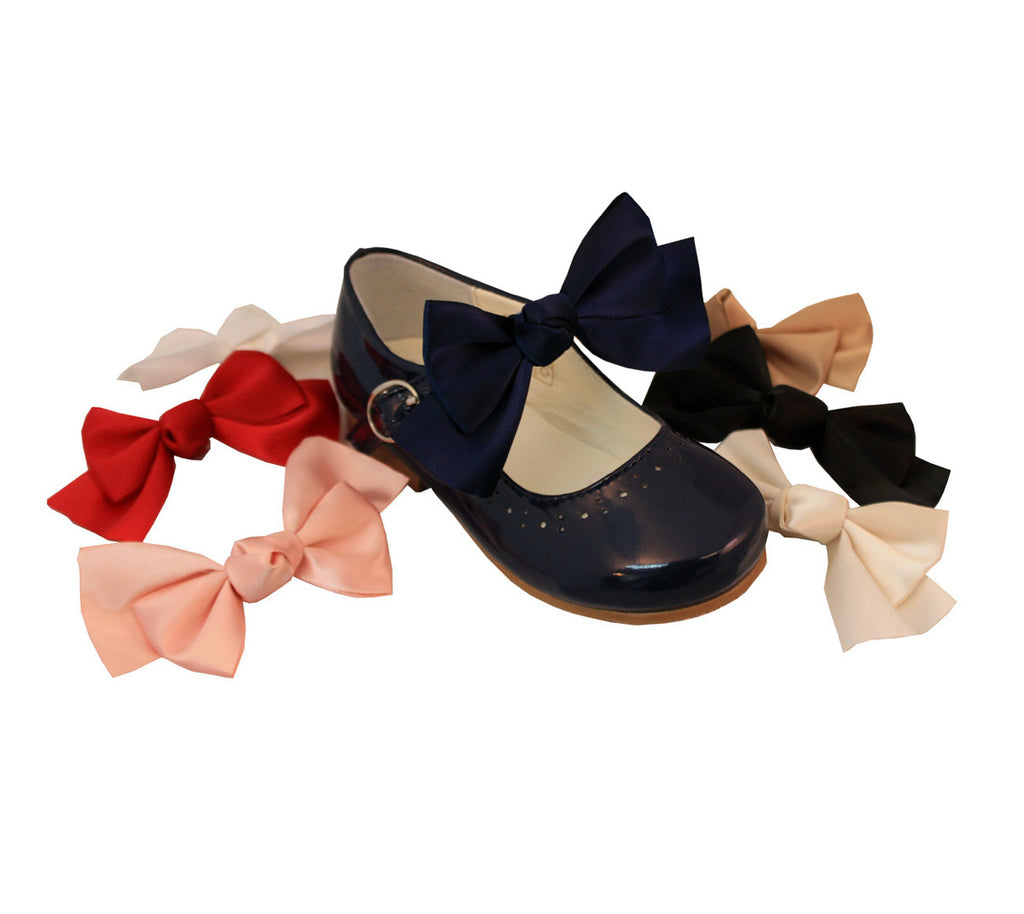 Navy Detachable Shoe Bows - Roo's Online Shop - children's clothes - Mary Jane shoes -