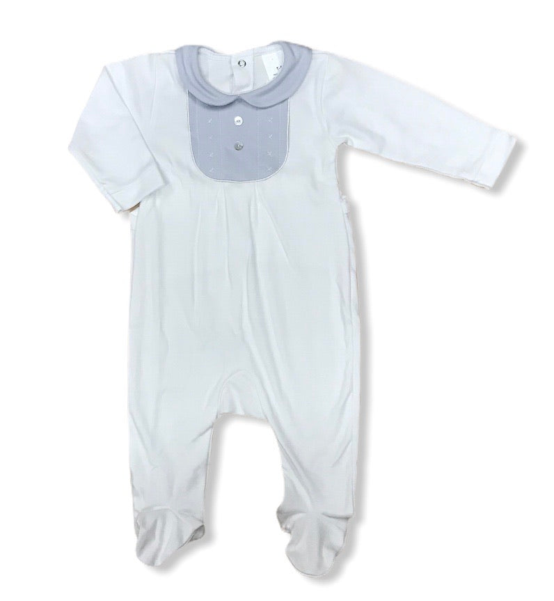 Embroidered bib style baby grow white & grey - Roo's Online Shop - children's clothes - Mary Jane shoes -