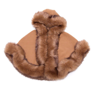 Luxury faux fur cape in CAMEL - Roo's Online Shop - children's clothes - Mary Jane shoes -