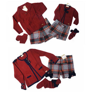 Cesar Blanco tartan shorts, jumper and socks set - Roo's Online Shop - children's clothes - Mary Jane shoes -