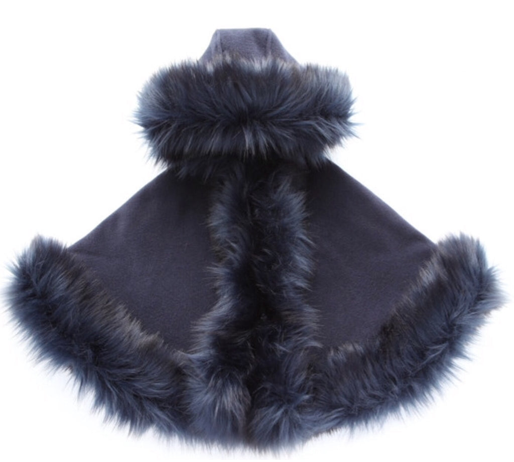 Luxury faux fur cape in NAVY - Roo's Online Shop - children's clothes - Mary Jane shoes -