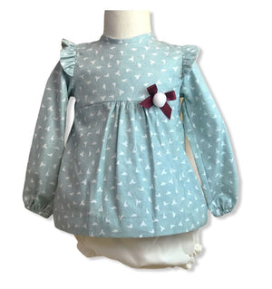 Bird print dress and knickers winter set - Roo's Online Shop - children's clothes - Mary Jane shoes -