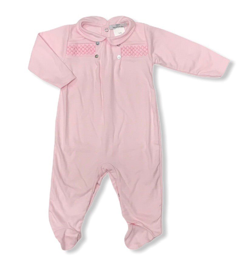Smocked baby grow pink - Roo's Online Shop - children's clothes - Mary Jane shoes -