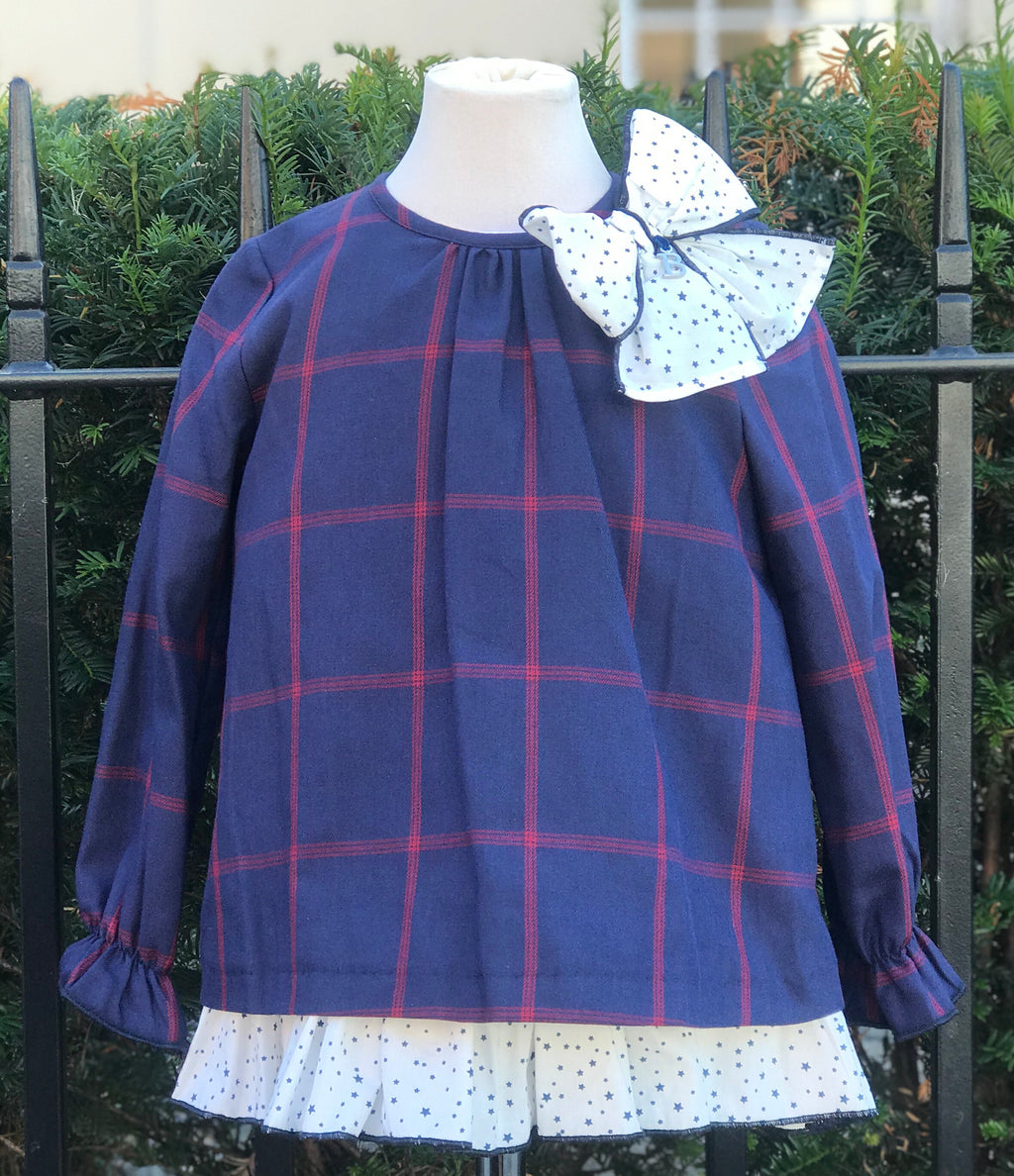 Babine Navy and Red Check A line Dress - Roo's Online Shop - children's clothes - Mary Jane shoes - dress