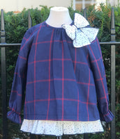 Babine Navy and Red Check A line Dress