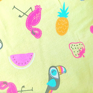 Tropical Print Smocked Summer Playsuit Lemon